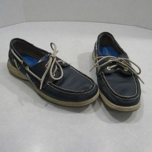 Sperry Top Sider Leather Blue Plaid Boat Shoes